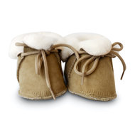 Wollige winter slofjes taupe